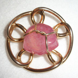 Vintage Amethyst GENUINE Polished Stone Brooch